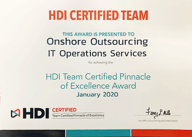 HDI Certified Team - Onshore Outsourcing